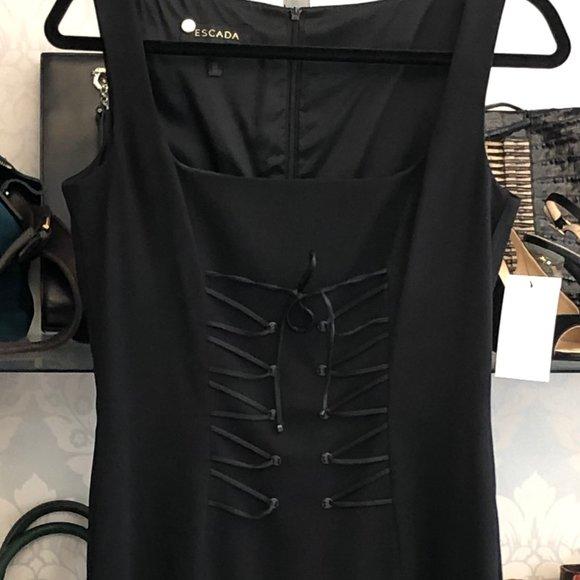 Vintage Black TOP SECRET Open-Shoulders Midi Dress Size 34